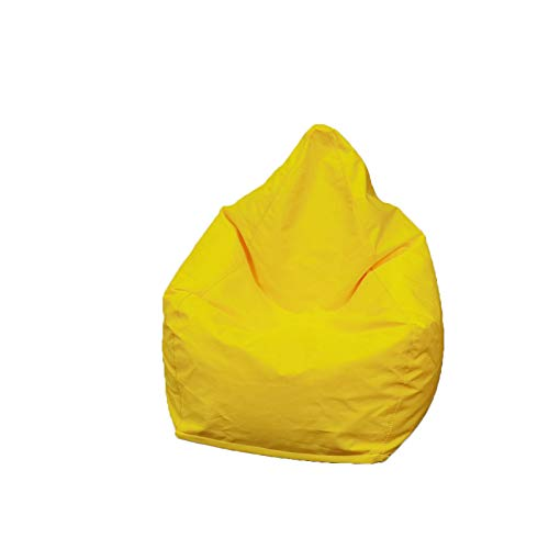 Bean Bag Chair(No Filler), Ultra Soft Solid Color Beanbag Chair Cover, Extra Sturdy Zipper and Double Suture for Organizing Children Plush Toys or Memory Foam (Yellow, 37.5'×30')