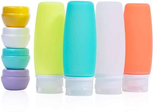 LLYX Reisen Flaschen Set, TSA Approved Reisezubehör Leak Proof Silikon nachfüllbar Squeezable Reise Behälter, 3,4 Unzen Toilettenartikel-Beutel mit Etiketten for Shampoo und Conditioner (8 Stück)