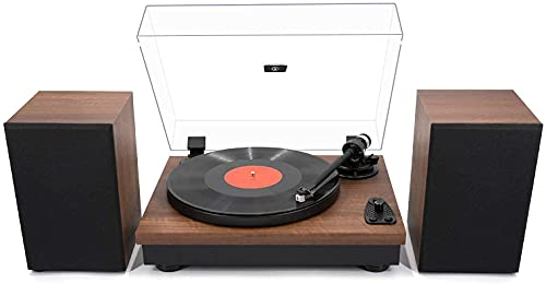 LP&No.1 Wireless Playback Vintage Turntable with Hi-Fi System Stereo Bookshelf Speakers, Bluetooth Belt-Drive Retro Record Player with Moving Magnet Cartridge & Adjustable Counterweight,Yellow Wood