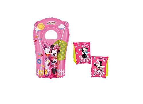 Set Infantil para Piscina de Minnie Mouse. Colchoneta Hinchable y Manguitos hinchables. Buen Vinilo, Resistente al Agua y Rayos UV. con válvulas de Seguridad para la máxima Seguridad de los ni