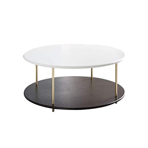 Bijzettafel ronde grote zijtafel, dubbele tafelpoten, roestvrij stalen tafelpoten, moderne minimalistische stijl gebruikt in huis woonkamer, wit