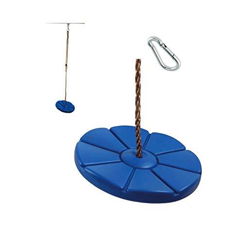 1 Stück h2i Kinder Teller Schaukel Disc Blau mit Karabiner zum Einhängen