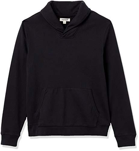 Amazon Brand - Goodthreads Men's Lightweight French Terry Shawl Collar Pullover Sweatshirt, Black, Medium