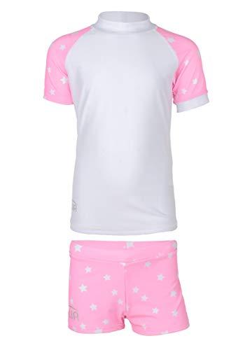 JUJA - Set de baño UV para niña, diseño de Estrellas, Color Blanco y Rosa, Niñas, S20432-194|8, Blanco, 122-128 cm