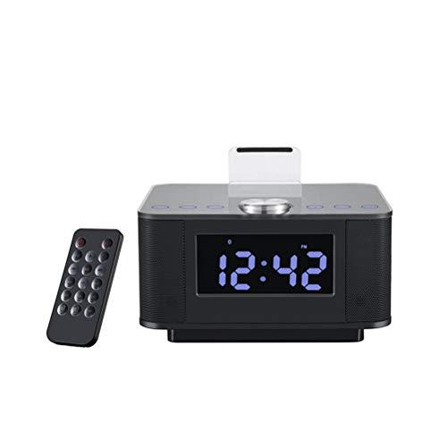 Reloj despertador Bluetooth, teléfono móvil USB de carga de radio Hotel habitación personalizada altavoz de cabecera, adecuado para conectar el teléfono móvil Bluetooth, ordenador portátil,Black
