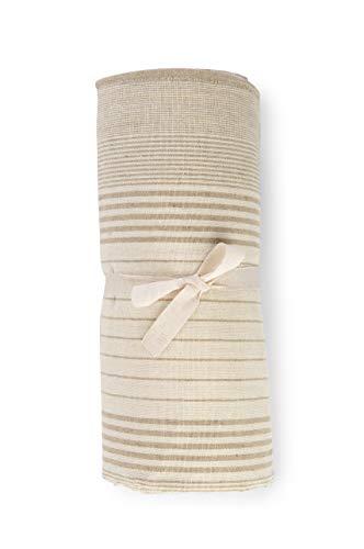HomeLife - Funda para sofá a rayas fabricada en Italia | Sábana cubretodo multiusos de algodón | Granfoulard Colcha para cama de matrimonio [260 x 280] Tela decorativa beige, 2 plazas
