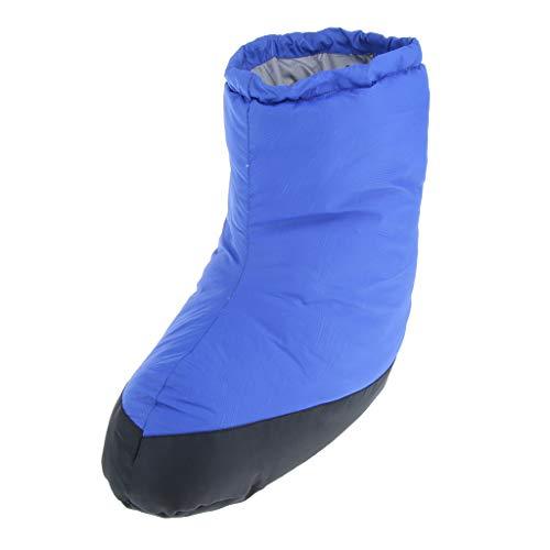 SM SunniMix Zapatillas de Plumón Unisex, Calcetines Suaves de Plumón de Pato, Pantuflas de Botín, Calentador de Pies Cálido, Zapatos de Interior Al Aire Libre Par - Azul XL, XL