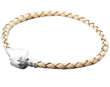 Creme Beige Geflochtenes Armband Leder Kupfer Versilbert, Passend für Europäische Perlen Und Charms, Extra Klein: 15.24 cm (15 cm), Lieferung in Geschenkbox