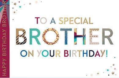Woorden 'n' Wensen Mannelijke Verjaardagskaart (WW-JL008) - Speciale Broer - Prismbereik - Folie & reliëf afwerking