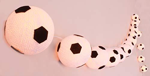 CREATIVECOTTON LED Lichterkette mit Cotton Balls inkl. Timer und Dimmer (Fußbälle, 20 Kugeln)