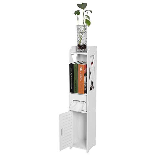 EBTOOLS 4-stöckiger Schrank 8015,5 cm schmal schmaler Badezimmer-Eckschrank mit Türen, Regalböden und Taschentuch-Aufbewahrungsregal, Holzregal