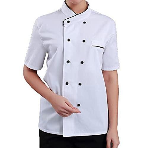 QWA Hombres y Mujeres Cocinero Chaqueta, Unisexo Hotel Cocina Cocinero Trabaja Desgaste Uniforme Respirable Cocinero Chaquetas por Cocineros Restaurante Personal Camareros