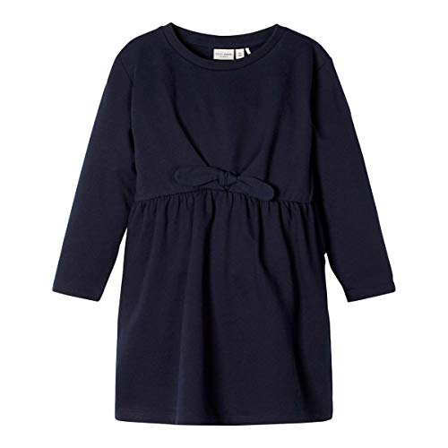 NAME IT Robe sweat à manches longues noeud robe bébé, marine