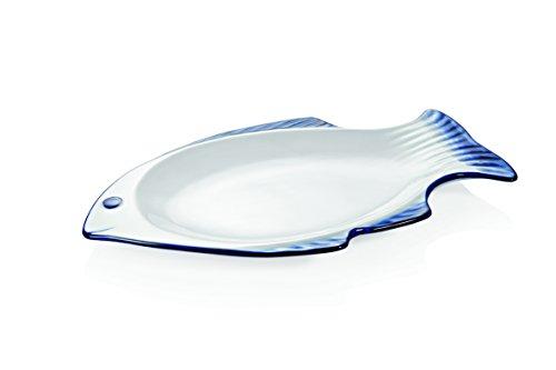 Plat à poisson ovale en porcelaine - 36 x 23 cm - Blanc et bleu - Passe au lave-vaisselle