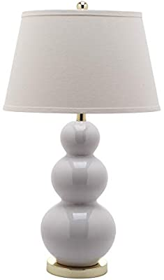 Safavieh LITS4095A Not Applicable Lighting Collection Pamela 28 inch White Triple Gourd Ceramic Lamp