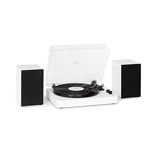 auna TT-Play SE Plattenspieler - Turntable, Stereolautsprecher: 20 Wmax., Bluetooth, 33/45/78 U/min, Riemenantrieb, Stereo-Keramikabnehmer, Pitch Control, AUX In, Audio Out, weiß