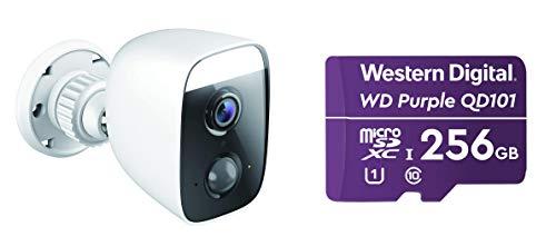 D-Link Cámara Exterior WiFi Control por Voz, Foco Luz LED Spotlight 400 Lumen, Sirena 100 dB, Full HD, Visión 150°, Detección Personas, Blanco + WD Purple QD101 MICROSD 256GB EXT