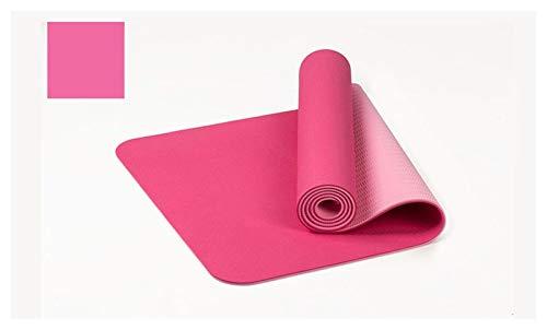 MeiZi 183 * 61 cm 6mm Dicke doppelte Farbe rutschfeste TPE Yoga Matte qualität Training Sport Matte fit für fitnessgymnastik Home Tasteless pad (Color : Pink)