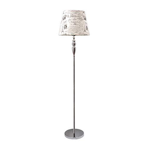 EIU Metalen Vloerlamp Led Staande Vloerlamp voor Woonkamer Slaapkamer Linnen Lampenkap Landelijke Kolom Vloerlamp, 165cm W1/27