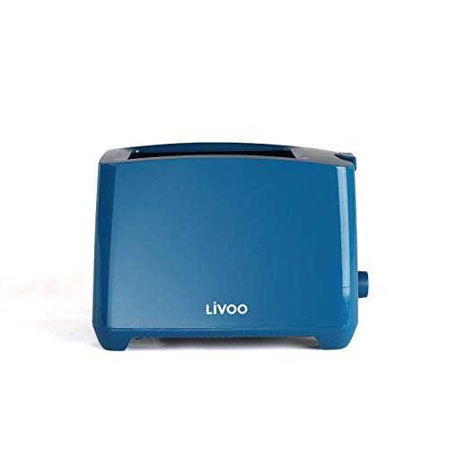 Toaster Blau mit Krümelschublade Regelbarer Thermostat (Manuelle Abschaltung, 750 Watt, 2 Toastschlitze)