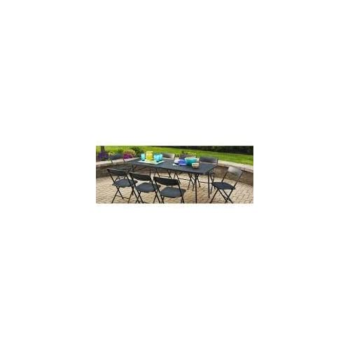 Mainstay Easy Carry Handle Black Strong and Sturdy 6  Foldable Table with Seats up to 8 Person (6ft, Black)