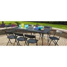 Mainstay Easy Carry Handle Black Strong and Sturdy 6' Foldable Table with Seats up to 8 Person (6 Foot, Black)
