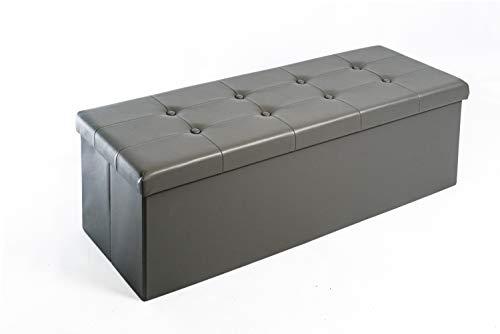 Zedelmaier Sitzhocker mit Stauraum Sitzbank Faltbar Truhen, Deckel Abnehmbar, 114x38x38 cm (Dunkelgrau - Kunstleder)
