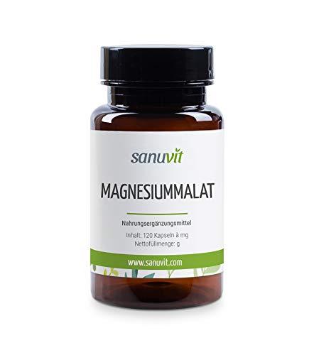 Sanuvit Magnesiummalat 120 Kapseln - Reinstoffprodukt direkt vom Hersteller (hypoallergene Manufaktur)
