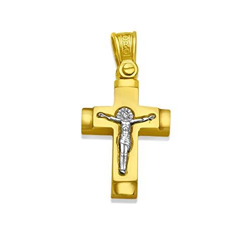 Anhänger Kreuz 585 Gold Gelbgold Weissgold 14K Massiv Goldkreuz Herren Damen