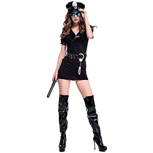 XIAOKEKE Disfraz De Policía Sexy para Mujer, Vestido De Policía, Uniforme De Cosplay, Traje De Policía Travieso, Disfraz para Mujer, Disfraz para Fiesta De Halloween,XXL