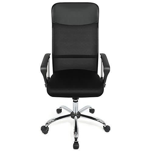 Sedia da ufficio con schienale in rete, colore: nero