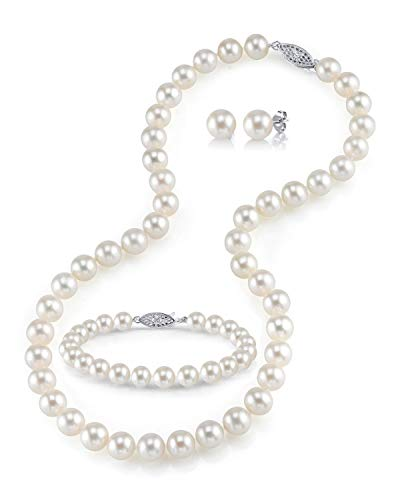 6.5-7mm Freshwater Cultured Pearl Jewelry Set for Women Includes Necklace, Bracelet, and Earrings with 925 Sterling Silver - THE PEARL SOURCE