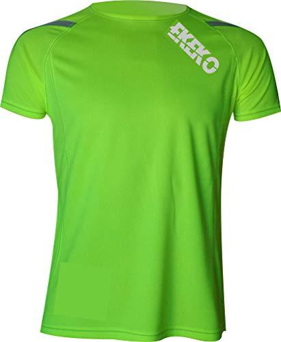 Camiseta EKEKO T Race DE Manga Corta para Hombre, Running, Atletismo, y Deportes en General. (S, Verde Lima)