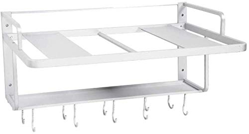 Wall Oven Shelf, Double Layer Aluminum Space Hanging Microwave Oven Rack, Microwave Oven Shelf with Hook, Home Kitchen Storage Bracket