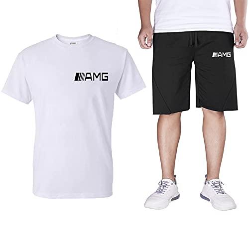 Chandal Corto Hombre Completo,2021 Camiseta Manga Corta Algodón Pantalon Corto Deporte,Clásico Ropa Deportiva Tshirts Top+Shorts White-M