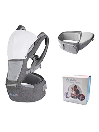 Baby Carrier Hip Seat for Newborn Toddler, Front Facing Child Carrier, Baby Back Carrier with Hood and Bib, All Season Breathable for Nursing Hiking Travel Indoor. Baby Shower Gift For New Mom and Dad