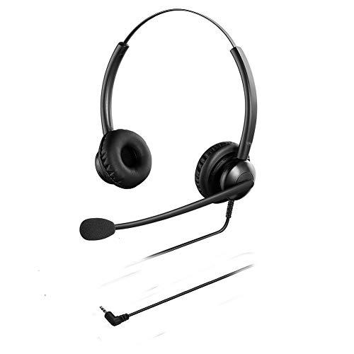 Oppetec Auriculares para teléfono con Cable de 2,5 mm y micrófono con cancelación de Ruido compatibles con teléfonos DECT y teléfonos fijos de Yealink Panasonic Avaya Cisco.