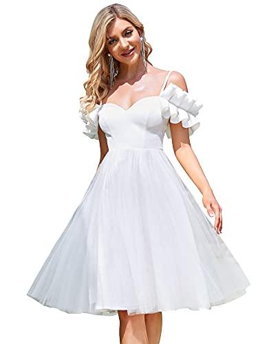 Ever-Pretty Vestido de Novia para Boda Sencillo Midi para Mujer Fuera del...