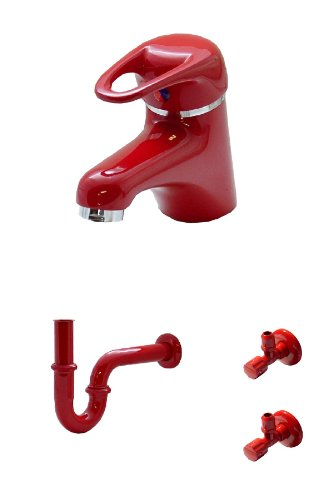 Waschtischarmatur, Siphon und 2 Eckventile in Rot