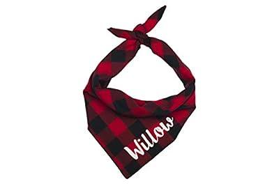 Willowear Dog Bandanas Personalized Red Buffalo Plaid Small