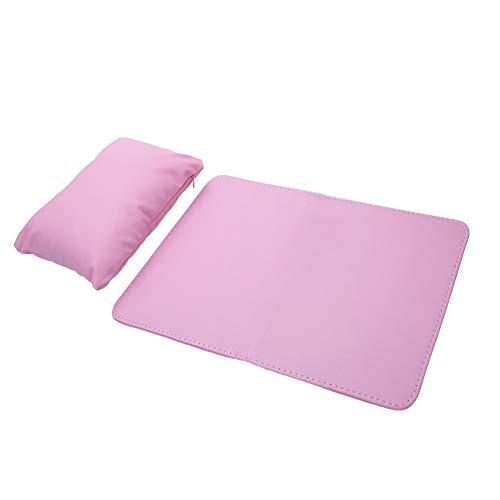 Almohadillas suaves para la mano, manicura Reposamuñecas, cojín, maquillaje, conjunto de herramientas cosméticas, PU, desmontable, lavable, desmontable, almohada para el descanso para uñas(Pink)