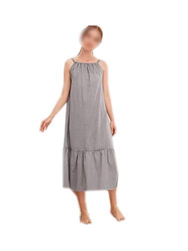 Bathrobe - Vestido para mujer, color gris, ropa de noche larga, algodón informal Gris L