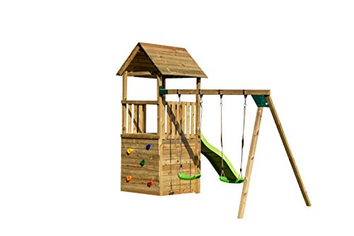 | MASGAMES | Parque infantil Canigó L con caseta duplex | Columpio de dos plazas | Plataforma a 120 cm de altura | Rampa de tobogán con conector a manguera | Anclajes incluidos | Uso doméstico