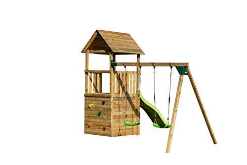   MASGAMES   Parque infantil Canigó L con caseta duplex   Columpio de dos plazas   Plataforma a 120 cm de altura   Rampa de...