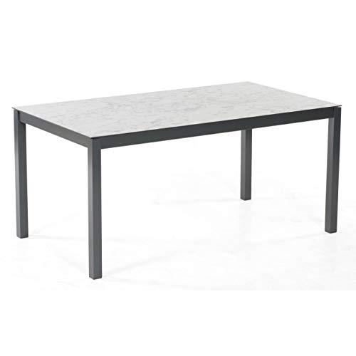 Sonnenpartner Gartentisch Base-Junior 160x90 cm Aluminium anthrazit mit Wende-Tischplatte HPL