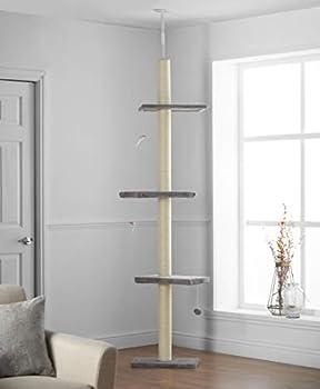 Pippa & Max Arbre à Chat XL 215cm-288cm, du Sol au Plafond | Tour Griffoir Chat, Poteau Arbre Chat avec étagères en Bois