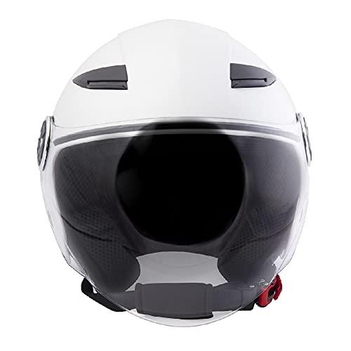 Casco Jet para scooter o moto, casco Demi Jet DF72, para hombre y mujer, unisex, visera larga, esférica, antiarañazos, antivaho, homologado Europa ECE 22 05, color blanco perla, talla S
