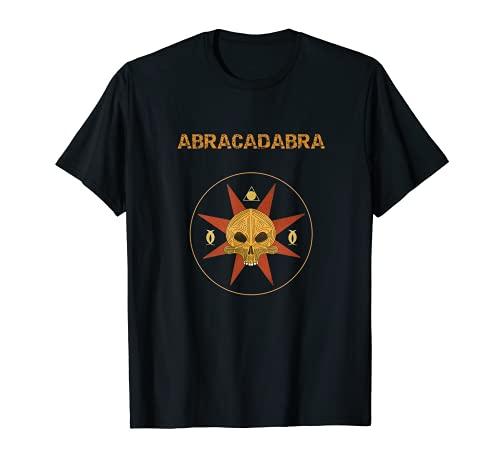 Abracadabra símbolo mágico -Calavera bruja brujería estrella Camiseta