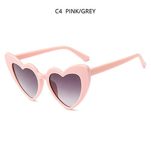 Gafas de Sol Moda Love Heart Ladies Red Gafas De Sol Sexy Pink Fiesta Al Aire Libre Mujeres Gafas De Sol Lindo Ovalado Mujer Sunglass Uv400 Pinkgrey