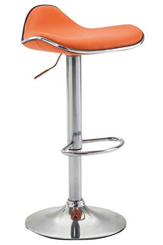 CLP Taburete Alto De Cocina Shanghai En Simil Cuero I Taburete De Bar Regulable En Altura & Giratorio I Taburete Con Base De Metal I Color: Naranja